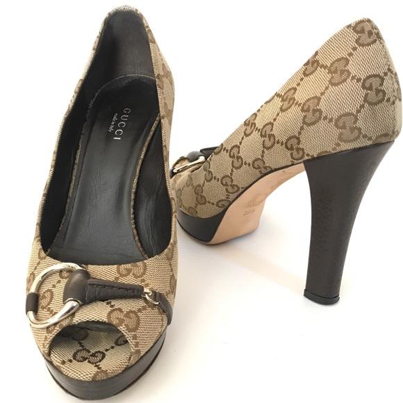 be411eb03e3 Gucci Shoes - Gucci Guccissima Canvas Horsebit Pumps